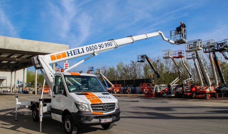 New in our rental fleet! Ruthmann 24.5 m telescopic boom lift with jib, mounted on a Mercedes Sprinter
