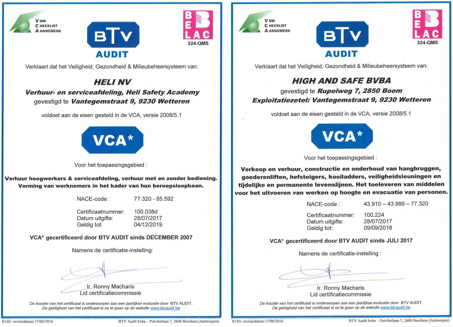 VCA certificaten Heli, HSA en High & Safe
