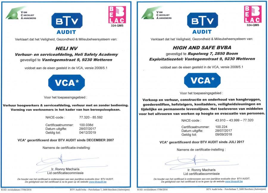 VCA certificaten Heli, HSA en High & Safe